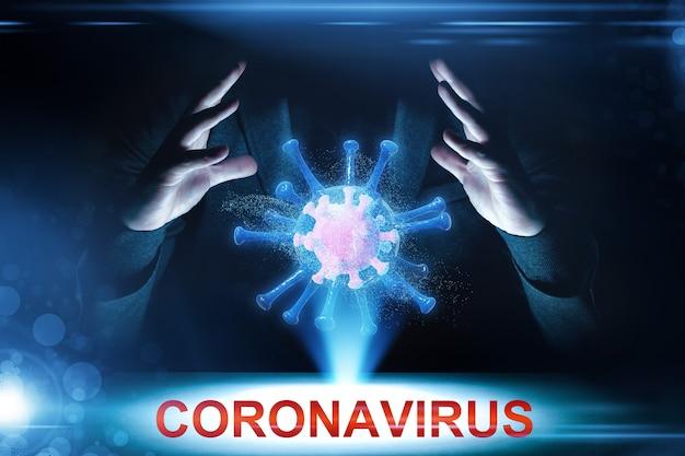 Éclosion de coronavirus, vue microscopique des cellules du virus de la grippe. illustration 3d