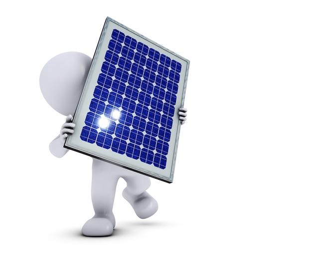 Eco homme avec un panneau solaire