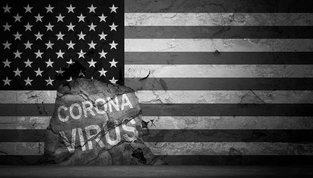 Économie des états-unis et concept de virus corona. l'impact du coronavirus sur la bourse.