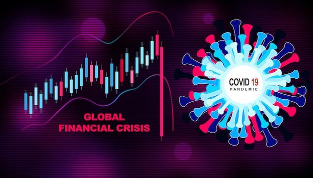 Économie mondiale et concept de virus corona. l'impact du coronavirus sur la bourse.