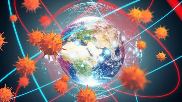 Économie mondiale et concept de virus corona. l'impact du coronavirus sur le monde. illustration 3d