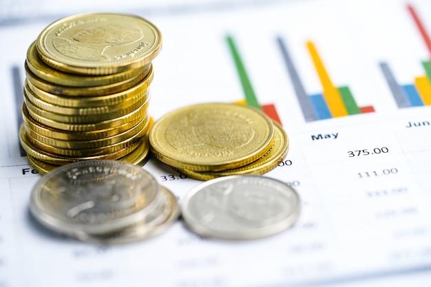 Économiser des piles de pièces d'argent tableaux et graphiques feuille de calcul
