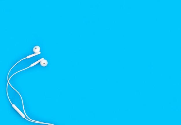 Écouteur sur fond bleu