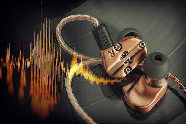 Écouteurs hybrides à armature équilibrée sur le disque vinyle lp avec onde sonore musicale
