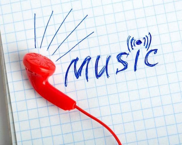 Écouteurs rouges et mot de musique