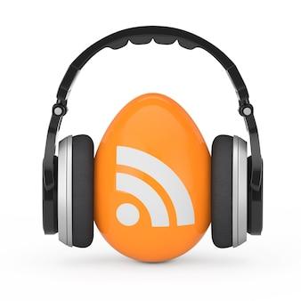 Écouteurs sur rss podcast logo icon sur un fond blanc. rendu 3d