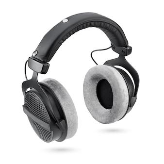 Écouteurs. studio noir sur les écouteurs arrière ouverts isolés