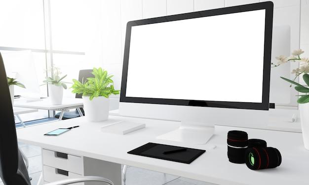 Écran blanc portrait en studio de photographie numérique