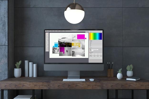 Écran de conception graphique ordinateur sur un rendu 3d de bureau