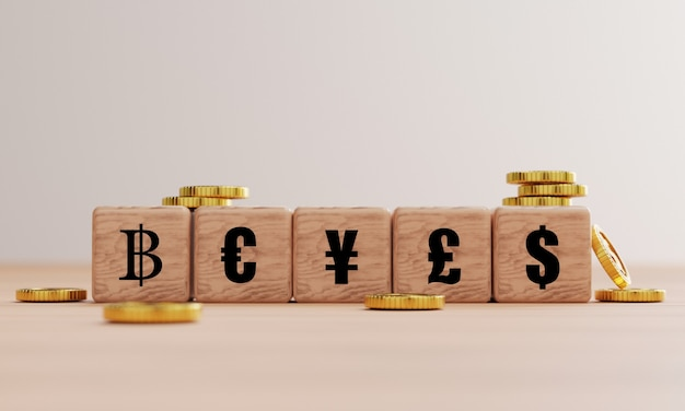 Écran d'impression de devise mondiale principal sur un bloc de cube en bois tel que dollar yen euro pound et baht avec des pièces d'or pour l'échange de devises par rendu 3d.
