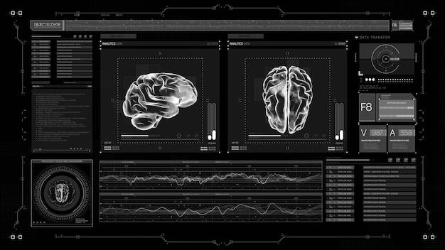 Écran médical d'affichage tête haute futuriste de l'ui hud avec des illustrations de cerveau en 3d.
