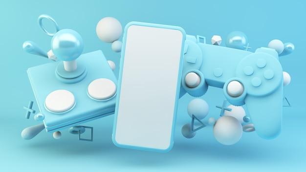 Écran mobile entouré d'éléments de jeu bleus dans le rendu 3d