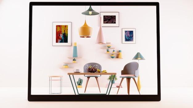 Écran numérique utilisant une application ar pour simuler des meubles avec des décors, suspendre des lampes lumineuses, des fruits et des pots de fleurs en arrière-plan.