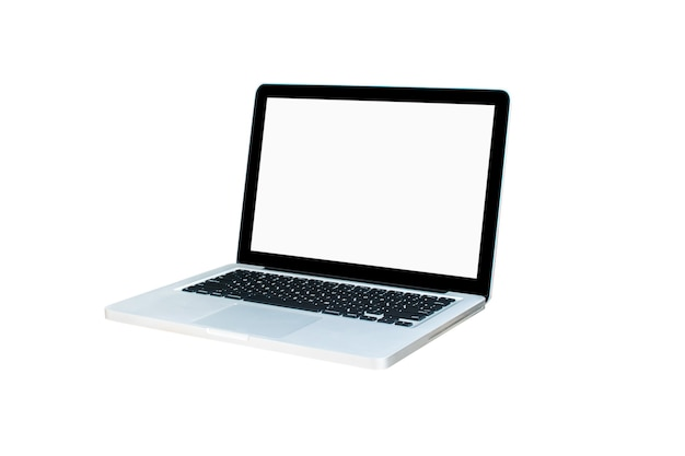Écran d'ordinateur isolé sur écran blanc sur un tracé de détourage de bureau de style bureau.