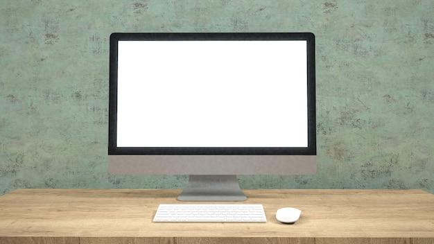 Écran d'ordinateur moderne à écran plat. / rendu 3d