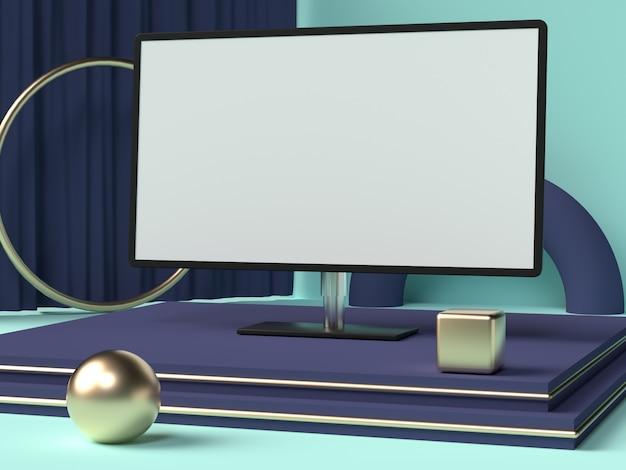 Écran d'ordinateur moniteur écran blanc maquette rendu 3d