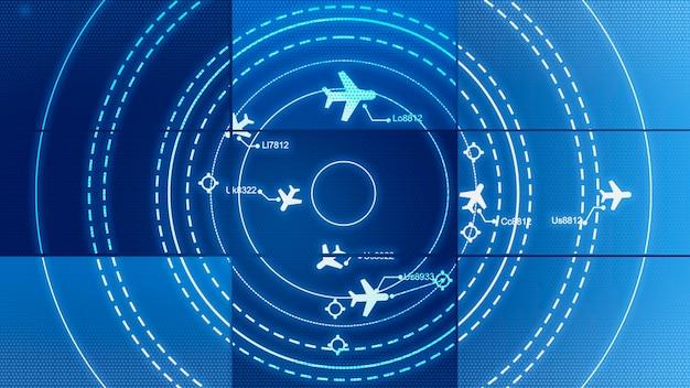 Écran de simulation montrant divers vols pour le transport et les passagers