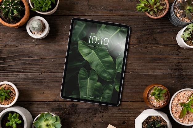 Écran de tablette numérique vierge en arrière-plan de plantes d'intérieur