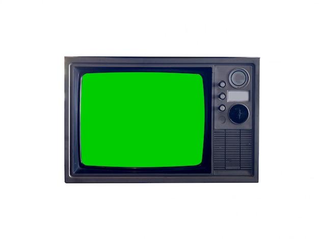 Écran vert vintage tv isolé comprend un tracé de détourage