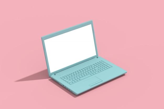 Écran vide pour ordinateur portable vert, concept créatif minimal, rendu 3d rose