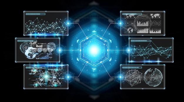 Les écrans numériques interfacent avec les données d'hologrammes