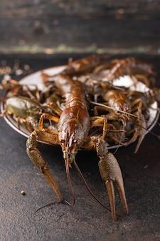 Écrevisses fruits de mer frais crus collation copie espace arrière-plan alimentaire nourriture végétarienne rustique