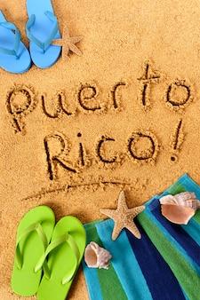 Écriture sur la plage de porto rico