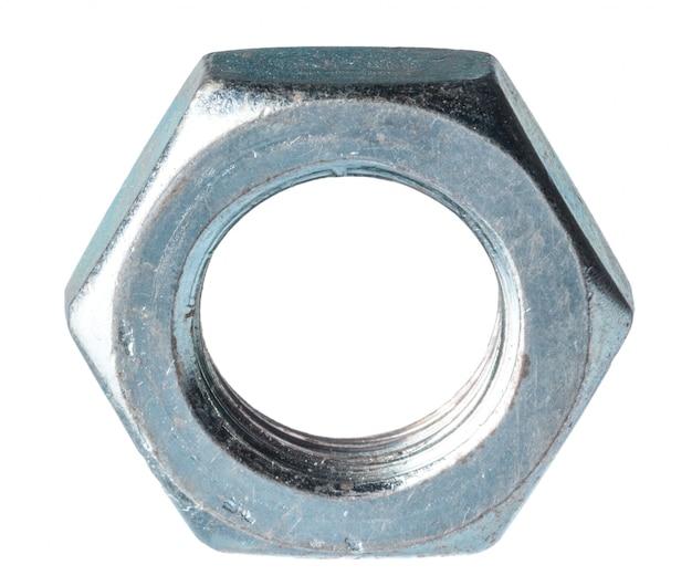 Écrou métallique isolé sur blanc