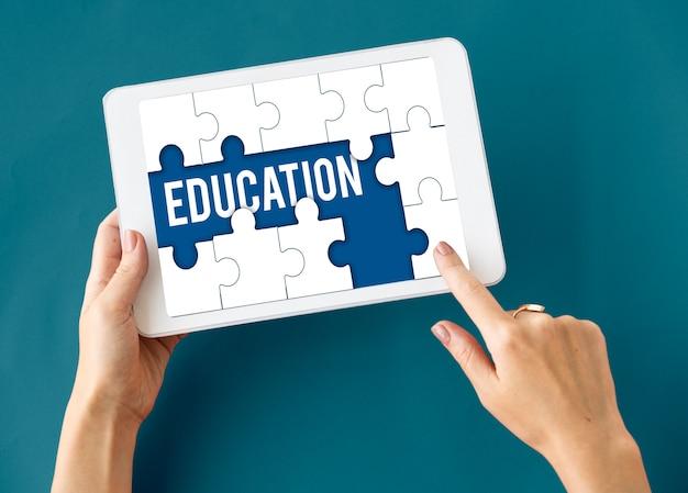 Éducation, apprentissage, puzzle, pièces, graphique