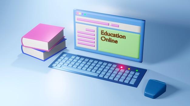 Éducation en ligne numérique, ensemble informatique et livres sur bleu