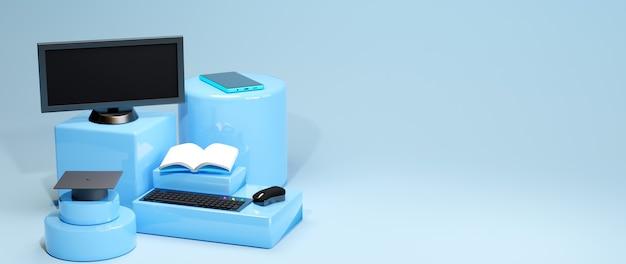 Éducation en ligne numérique, ensemble informatique et mobile sur bleu