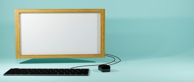 Éducation en ligne numérique, ensemble informatique et tableau blanc sur bleu