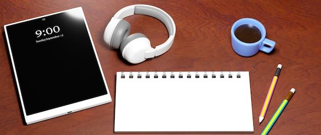 Éducation en ligne. rendu 3d de mobile, ordinateur portable, crayons.