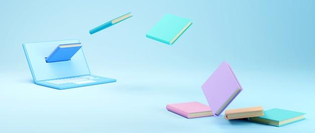 Éducation numérique en ligne. 3d de cahier et de livres sur l'apprentissage sur téléphone, ordinateur. concept de distance sociale. réseau internet en ligne en classe.