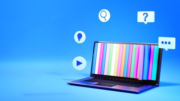 Éducation numérique en ligne. 3d de cahier et de livres sur les étagères sur l'apprentissage sur téléphone, ordinateur.