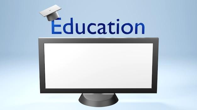 Éducation numérique en ligne. 3d de chapeau, moniteur d'apprentissage sur téléphone, ordinateur. concept de distance sociale. réseau internet en ligne en classe.