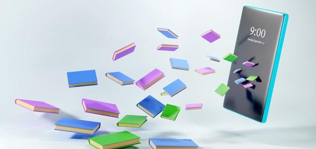Éducation numérique en ligne. 3d de livres et de mobiles sur les étagères sur l'apprentissage sur téléphone, ordinateur.