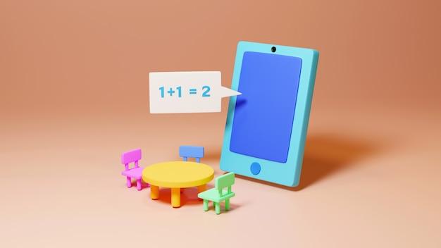 Éducation numérique en ligne. 3d de mobile sur l'apprentissage sur téléphone, ordinateur. concept de distance sociale. réseau internet en ligne en classe.