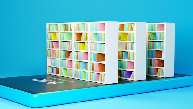Éducation numérique en ligne. 3d de mobile, livre sur l'apprentissage sur téléphone, ordinateur. concept de distance sociale. réseau internet en ligne en classe.