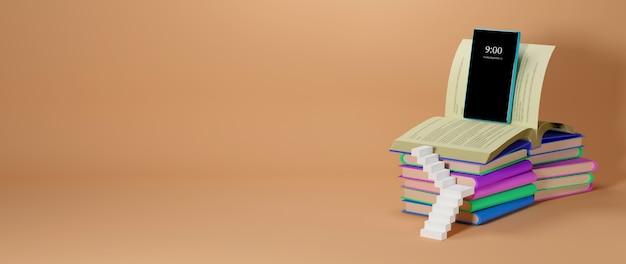 Éducation numérique en ligne. 3d de mobile, livres sur l'apprentissage sur téléphone, ordinateur. concept de distance sociale. réseau internet en ligne en classe.