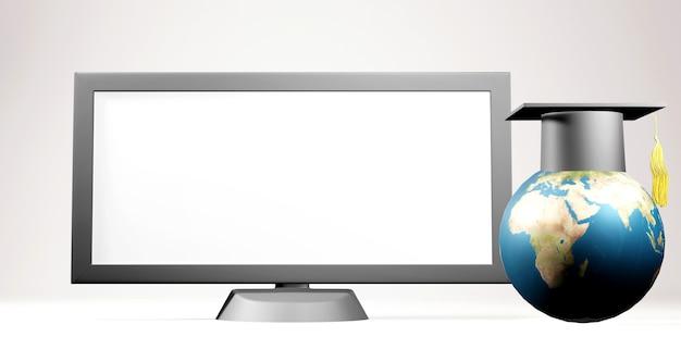 Éducation numérique en ligne. 3d de moniteur et chapeau de graduation sur les étagères sur l'apprentissage sur téléphone, ordinateur.