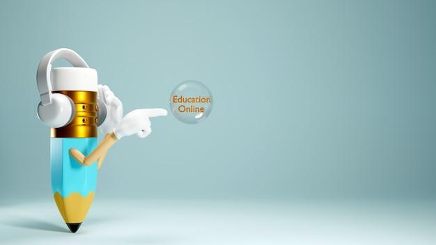 Éducation numérique en ligne. rendu 3d d'un crayon sur un mur blanc.