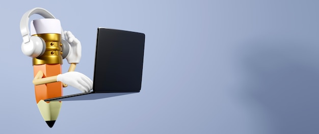 Éducation numérique en ligne. le rendu 3d d'un crayon utilise un ordinateur portable sur un mur blanc.