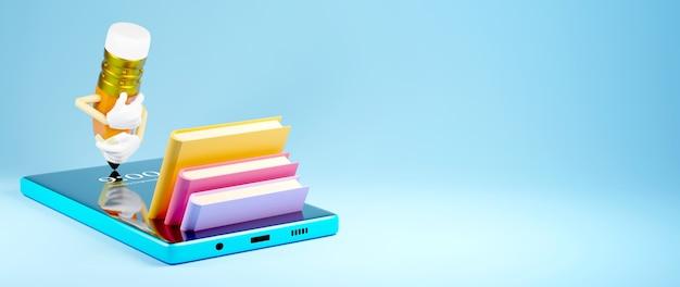 Éducation numérique en ligne. rendu 3d de mobil. apprentissage des applications sur téléphone, fond de site web mobile.