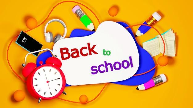 Éducation numérique en ligne. rendu 3d de réveil et mobile sur mur orange. il y a un texte de retour à l'école.