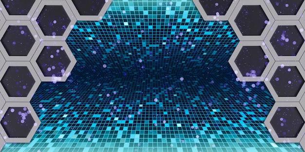 Effet bokeh abstrait hexagone rougeoyant cadre hexagonal