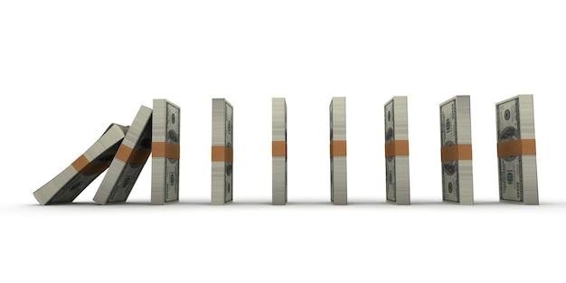 Effet domino avec des piles de billets de cent dollars