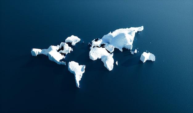 Effet du réchauffement climatique dans la nature. image conceptuelle de la fonte des glaciers en forme de monde dans l'eau d'un bleu profond. illustration 3d.