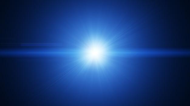 Effet d'explosion de faisceau de lumière bleu flare blanc abstrait.