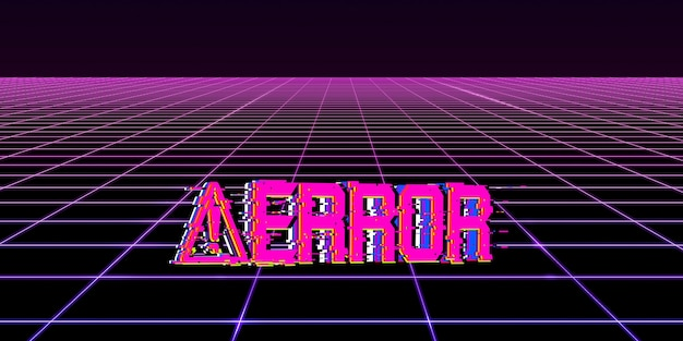 Effet glitch symboles de danger informatique concept cyberpunk 80s neon tone color hacking pixels numériques
